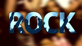 Title ROCK concert festival music written on stock footage