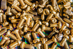 Title:Small bronze bolts Royalty Free Stock Photos