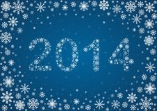 2014 title from snowflakes. Title 2014 from frosty snowflakes, vector background Stock Illustration