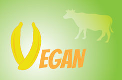 Title vegan from fruit and vegetables. On green background Royalty Free Stock Images