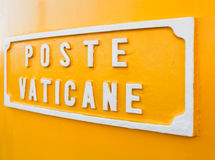 Title 'Poste Vaticane' on the postbox of the Vatican Postal Service. Royalty Free Stock Images