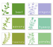 Titled Stickers With Herbs Stock Images
