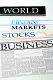 Titles of newspapers about the business Stock Image