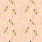 Titmouse on willow branches. Seamless watercolor pattern with fluffy willow branches and titmouse Stock Photography