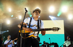 Tito Paris Concert, fase do fundo da bandeira de Cabo Verde imagem de stock