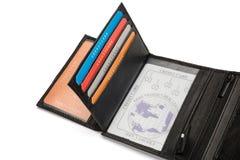 Titolari della carta e finestra di identificazione del portafoglio di cuoio nero Immagine Stock Libera da Diritti