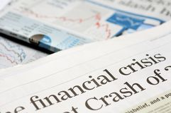 Titoli di crisi finanziaria Fotografia Stock Libera da Diritti