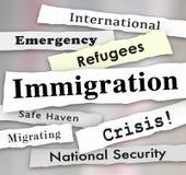 Titoli di giornale di crisi del rifugiato di immigrazione Immagine Stock Libera da Diritti