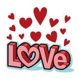 Titolo dei caratteri in grassetto di amore di parola del biglietto di S. Valentino con i cuori rossi Immagini Stock