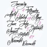 Titolo dei mesi dell'anno. Numeri da 0 a 9. illustrazione vettoriale