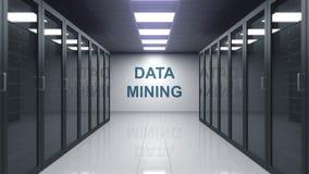 Titolo del DATA MINING sulla parete di una stanza del server rappresentazione 3d Immagini Stock Libere da Diritti