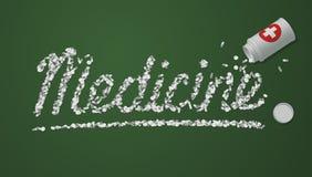 Titolo della medicina creato dalle pillole e dalle compresse Immagini Stock