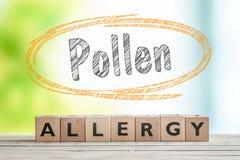 Titolo di allergia del polline con un segno di legno Immagini Stock