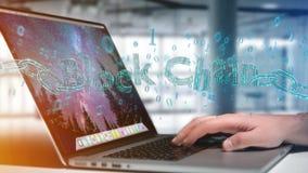 Titolo di Blockchain con un cahin fatto del numero di dati - 3d rendono Immagini Stock Libere da Diritti