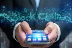 Titolo di Blockchain con un cahin fatto del numero di dati - 3d rendono Fotografie Stock Libere da Diritti