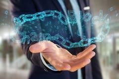 Titolo di Blockchain con un cahin fatto del numero di dati - 3d rendono Immagine Stock Libera da Diritti