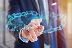 Titolo di Blockchain con un cahin fatto del numero di dati - 3d rendono Fotografia Stock Libera da Diritti