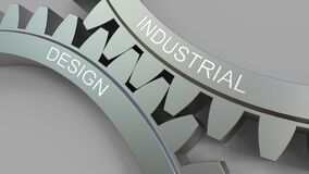 Titolo di DESIGN INDUSTRIALE sugli ingranaggi ingrananti Animazione concettuale illustrazione vettoriale