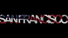 Titolo di San Francisco ed animazione d'ondeggiamento di introduzione della bandiera americana 4K illustrazione di stock