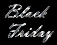 Titolo metallico d'argento di Black Friday Fotografie Stock