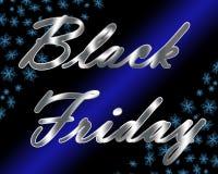 Titolo metallico d'argento di Black Friday con i fiocchi di neve blu ed il raggio luminoso Immagine Stock