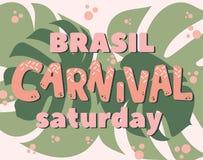 Titolo popolare di carnevale del Brasile di evento con gli elementi variopinti del partito Fotografia Stock