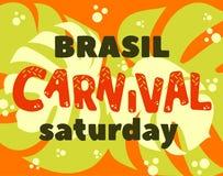 Titolo popolare di carnevale del Brasile di evento con gli elementi variopinti del partito Fotografie Stock Libere da Diritti