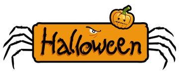 Titolo spaventoso di Halloween, piedini del ragno e zucca Immagine Stock