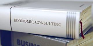 Titolo sulla spina dorsale - consulto economico del libro 3d immagini stock libere da diritti