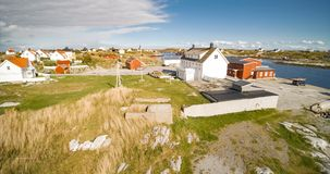 Village and Sea in small island, Norwegian Sea royalty free stock image