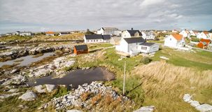 Village and Sea in small island, Norwegian Sea stock images