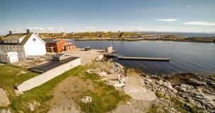 Village and Sea in small island, Norwegian Sea stock photos