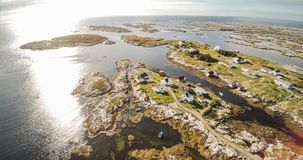 Village and Sea in small island, Norwegian Sea stock photo