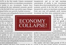 Titre d'effondrement d'économie Photos stock