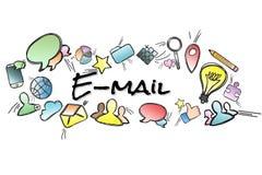 Titre d'email d'isolement sur un fond et entouré par multimedi Photos libres de droits