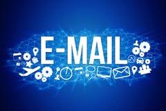 Titre d'email d'isolement sur un fond et entouré par multimedi Photo stock