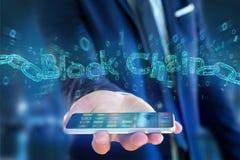 Titre de Blockchain avec un cahin fait de nombre de données - 3d rendent Images libres de droits