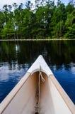 Titre de canoë vers la forêt sur l'eau Image libre de droits