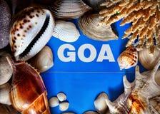 Titre de Goa dans la trame de seashells photo libre de droits