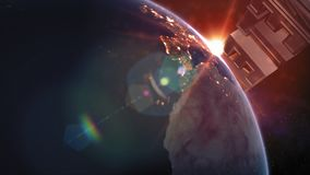 Titre de la terre de planète - la terre de l'espace les montrant à tous beauté banque de vidéos