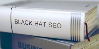 Titre de livre de chapeau noir Seo 3d Photos stock