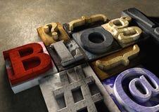 Titre en bois de blog de forme de blocs d'impression Concept pour blogging, bl Photographie stock libre de droits