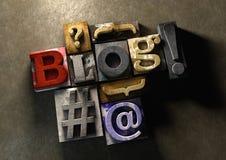 Titre en bois de blog de forme de blocs d'impression Concept pour blogging, bl Image stock