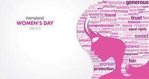 Titre international de jour du ` s de femmes avec une silhouette d'un visage du ` s de femme et un nuage des mots à l'intérieur d Photos stock