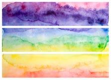 Titres de bas de page ou en-têtes d'arc-en-ciel d'aquarelle illustration libre de droits