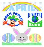 Ensemble de clipart (images graphiques) d'événements d'avril image libre de droits