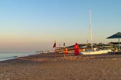 Titreyengol anterior de la playa de la salida del sol o de la puesta del sol Imagen de archivo libre de regalías