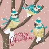 Tits y alimentador divertidos del pájaro en árbol del invierno bajo nevadas Tarjeta de Navidad del vector Para la decoración de l ilustración del vector