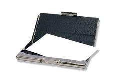 Titular de tarjeta de los bussines de Metall con la tarjeta clara Fotografía de archivo libre de regalías