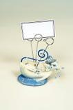 Titular do cartão azul e branco do gato. Fotos de Stock